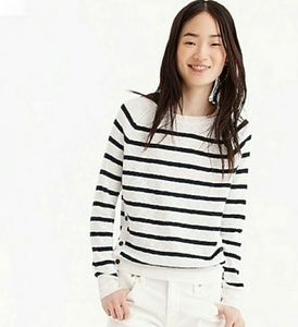 J Crew Crewneck Striped Sweater With Side Buttons